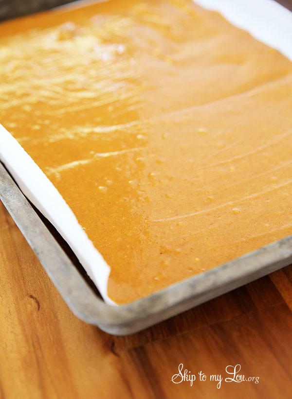 pumpkin roll batter in pan