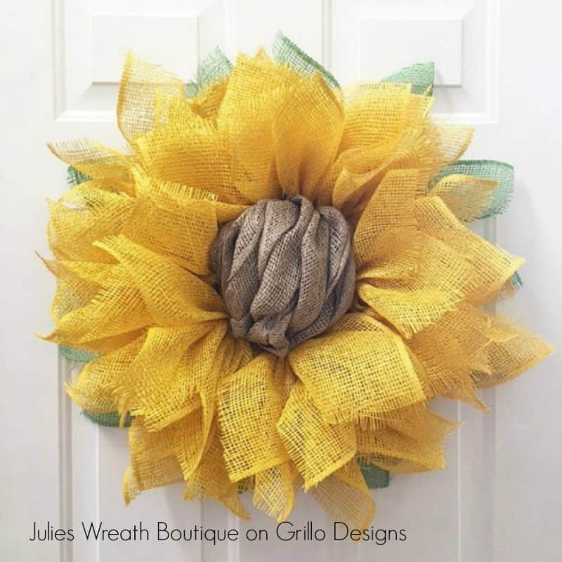 sunflower wreath on white door