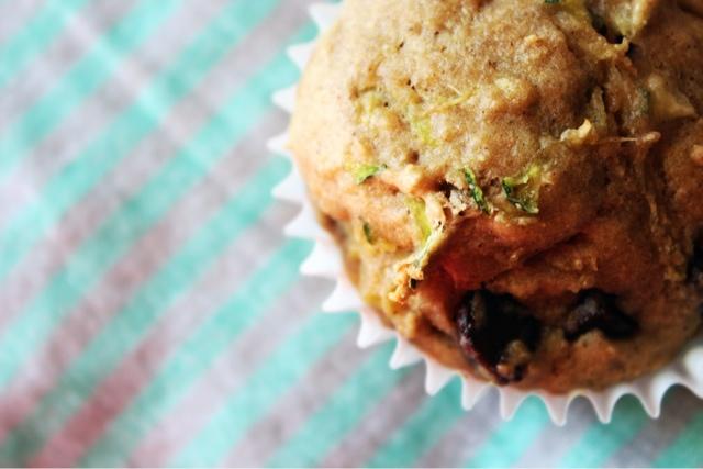 zucchini banana chocoate chip muffins