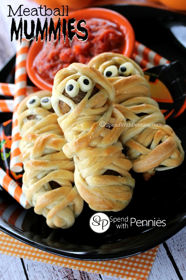 Spooktacular halloween dinner ideas skip to my lou deliciously adorable meatball mummies forumfinder Image collections