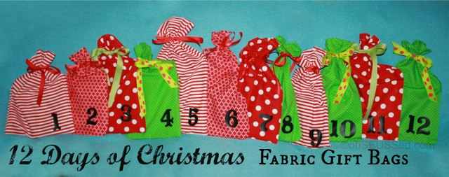 12 Days of Christmas Fabric Gift Bags | Skip To My Lou