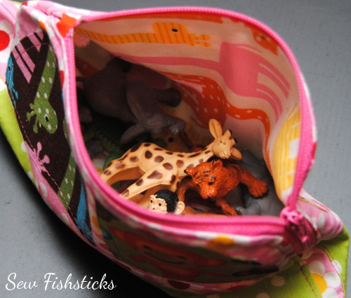 opening of Jungle Jalopy Zippered Pouch