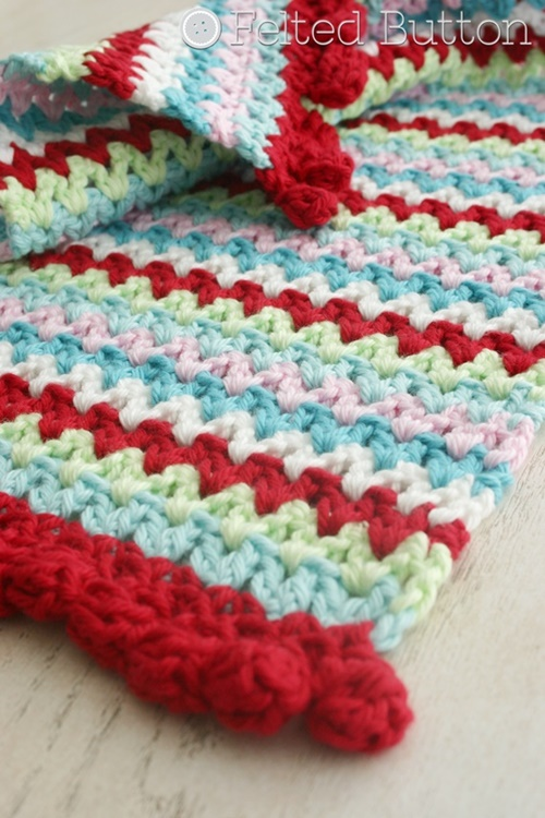 Felted Button Colorful Crochet Patterns (V-Stitch Placemat, Napkin Ring and Blanket) -- free crochet pattern