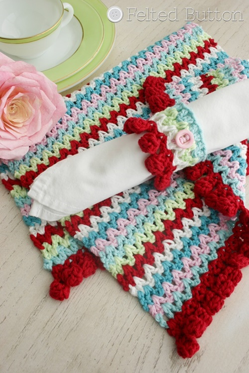 Felted Button Colorful Crochet Patterns (V-Stitch Placemat, Napkin Ring and Blanket) --free crochet pattern