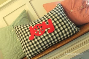 Create darling festive pillows from dress shirts- sew easy! OneKriegerChick.com