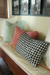 Festive Pillows from dress shirts- inexpensive, easy, and sew fun! OneKriegerChick.com