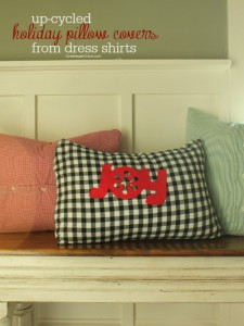 Make darling and inexpensive holiday pillows from dress shirts! OneKriegerChick.com