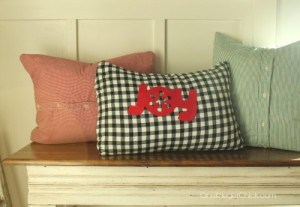 Make your own holiday pillows from thrift store dress shirts- easy sewing project! OneKriegerChick.com
