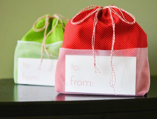 Sheer Pocket Drawstring Fabric Gift Bag Tutorial | Skip To My Lou