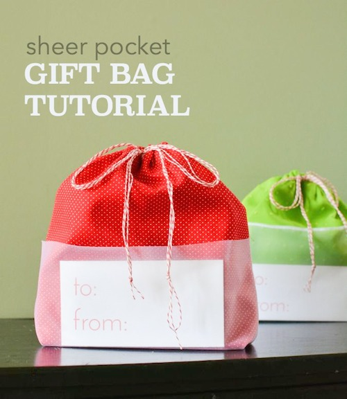 Sheer Pocket Drawstring Gift Bag crafterhours tutorial 2