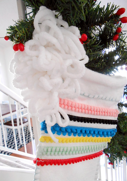 Stocking and Antler Art - finished pom pom