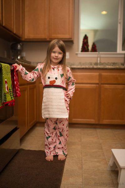 crochet snowman apron