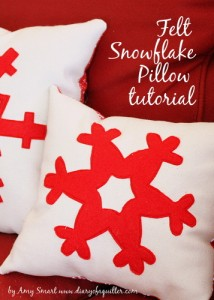 felt snowflake pillows tutorial