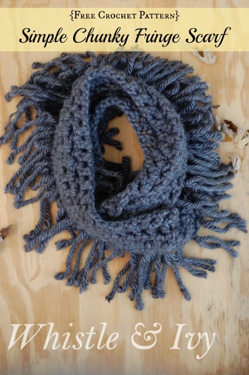 make a simple chunky fringe crochet scarf