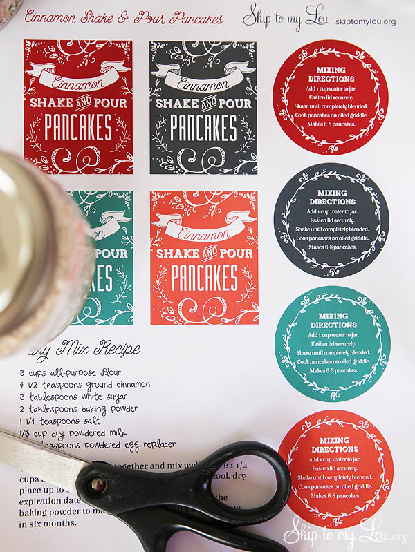 shake and pour pancake mix labels