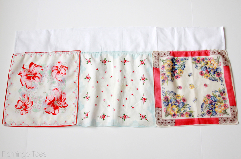 sew handkerchiefs to lining