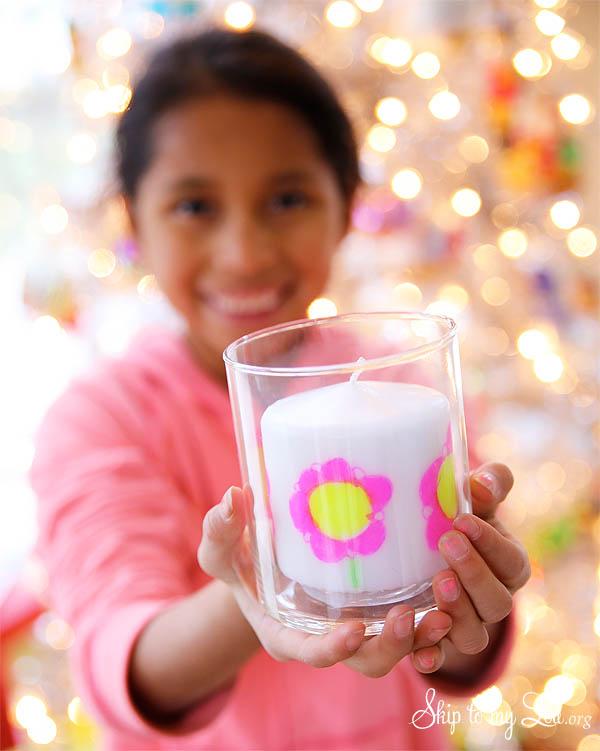 DIY Christmas Gift childs artwork candleDIY Christmas Gift childs artwork candle