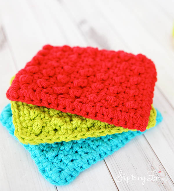 teal, lime green and red crochet sponges