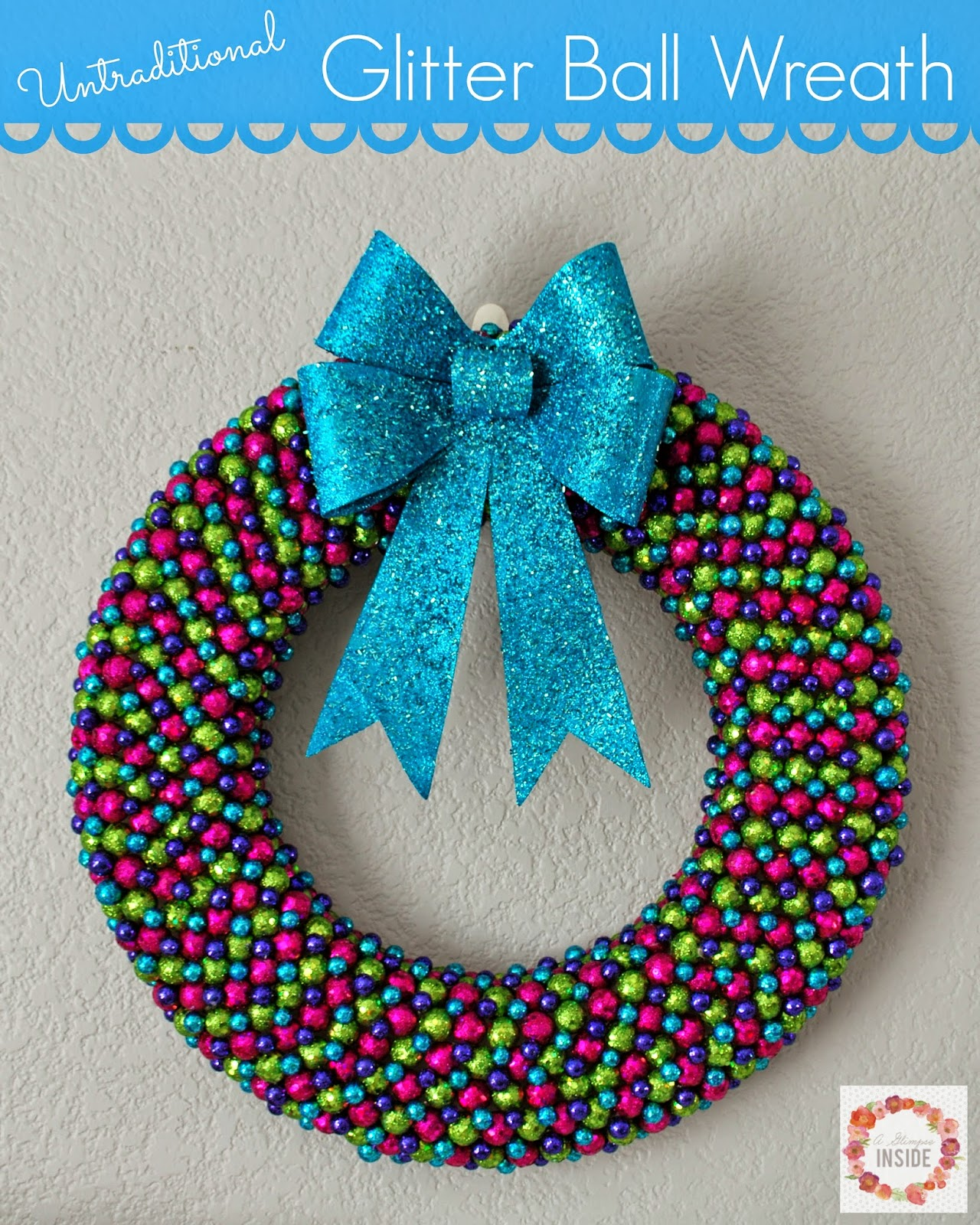 diy christmas decorations glitter ball wreath