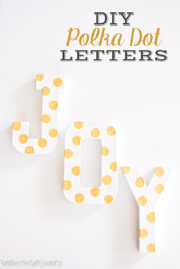 DIY Christmas Decorations gold polka dot letters