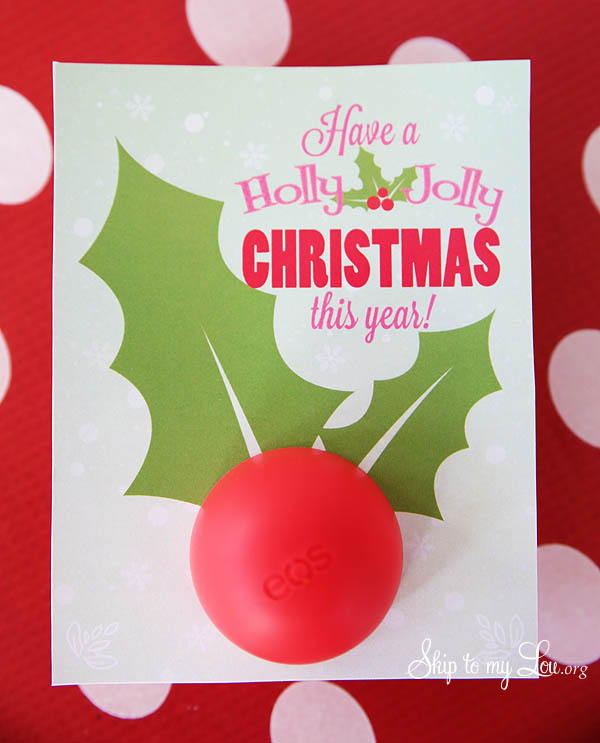 printable lip balm Christmas gift idea
