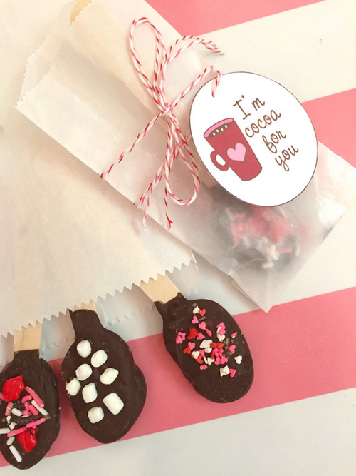 Valentine Hot Chocolate Spoons & Printable Tags