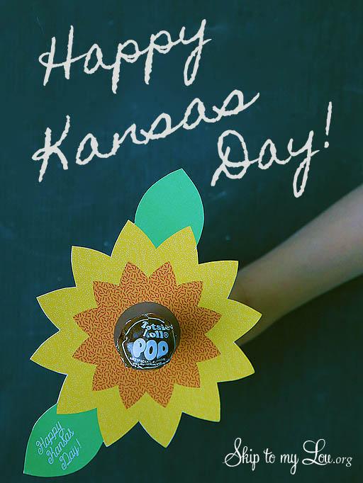 Kansas Day sunflower lollipop printable