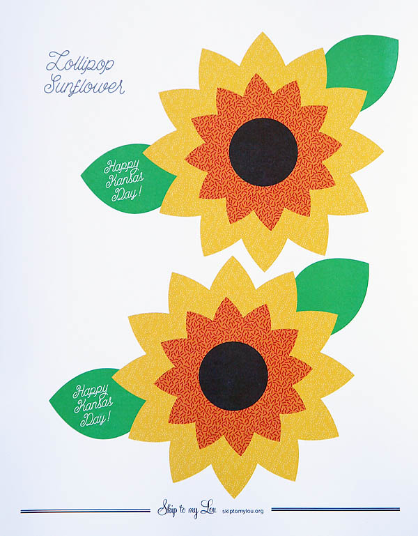 graphic regarding Sunflower Printable identified as Sunflower Lollipop Printable Miss Toward My Lou