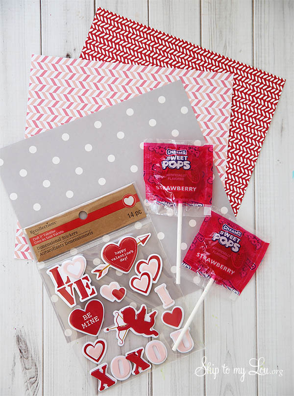 origami heart sucker cover supplies