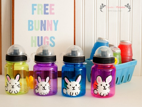 Hand-Painted Bunny Hugs Water Bottles for Kids