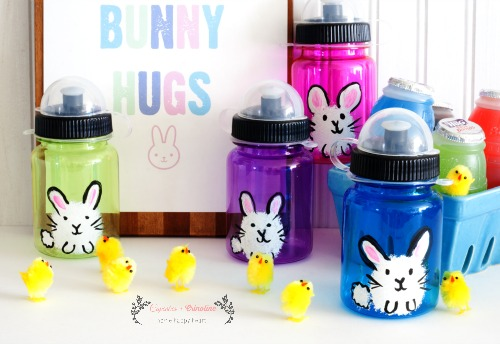 Easter party hand-painted water bottle treats for kids from cupcakesandcrinoline.com