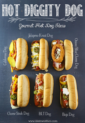 Gourmet Hot Dog Ideas from kleinworthco.com