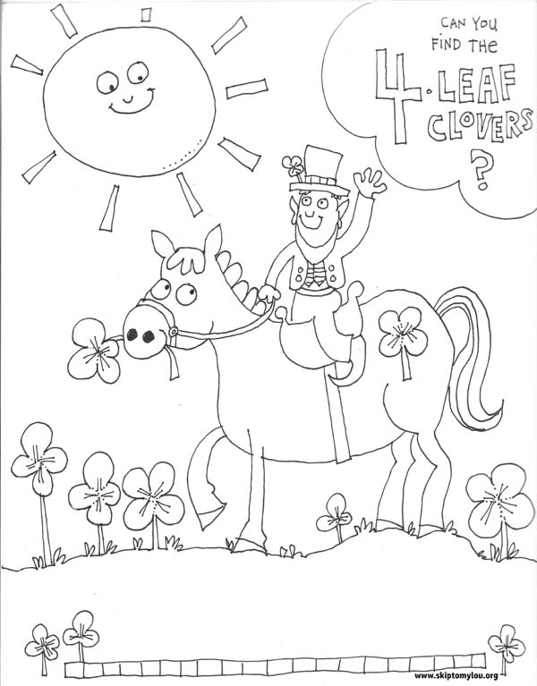 coloring page for St Patrick's Day