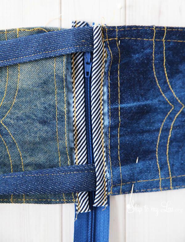 denim pouch zipper how to
