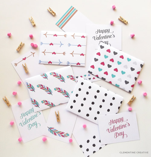 mini printable valentine envelopes and cards
