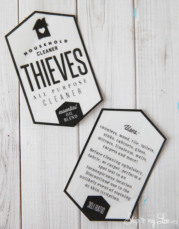 thieves household cleaner free labels