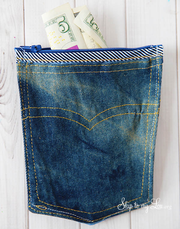 zippered denim pocket pouch