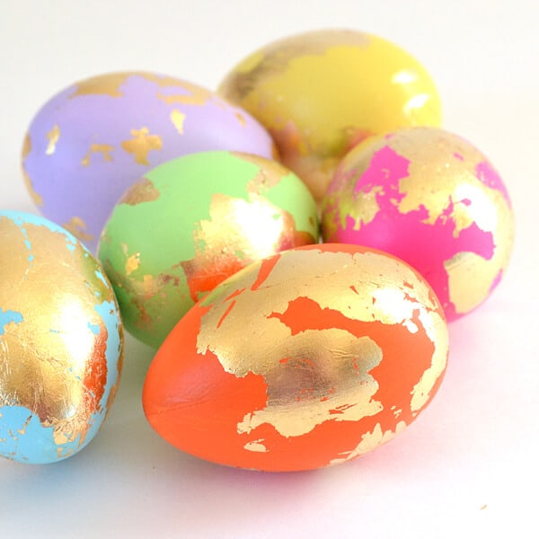 eggs decorated with gold leaf