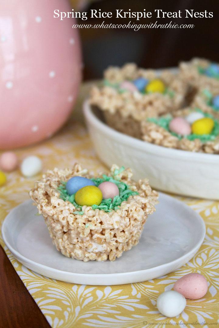 Spring Rice Krispie Nests