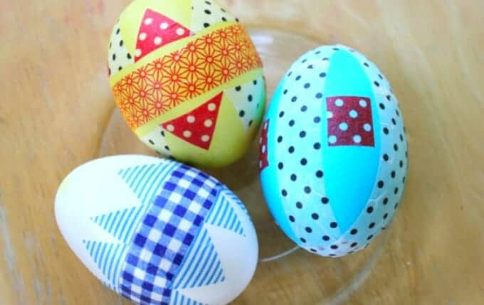 eggs deocrated with washi tape