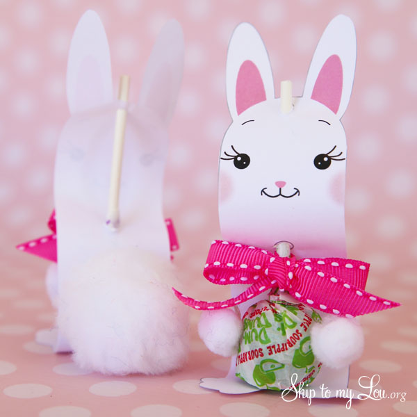 bunny sucker holder add pom poms