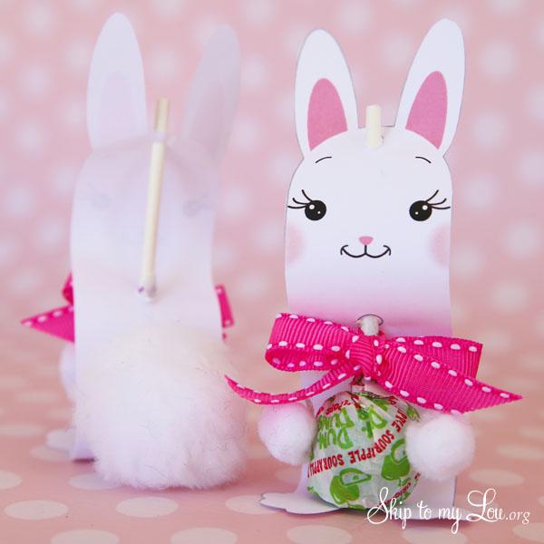 bunny sucker holder add pom poms