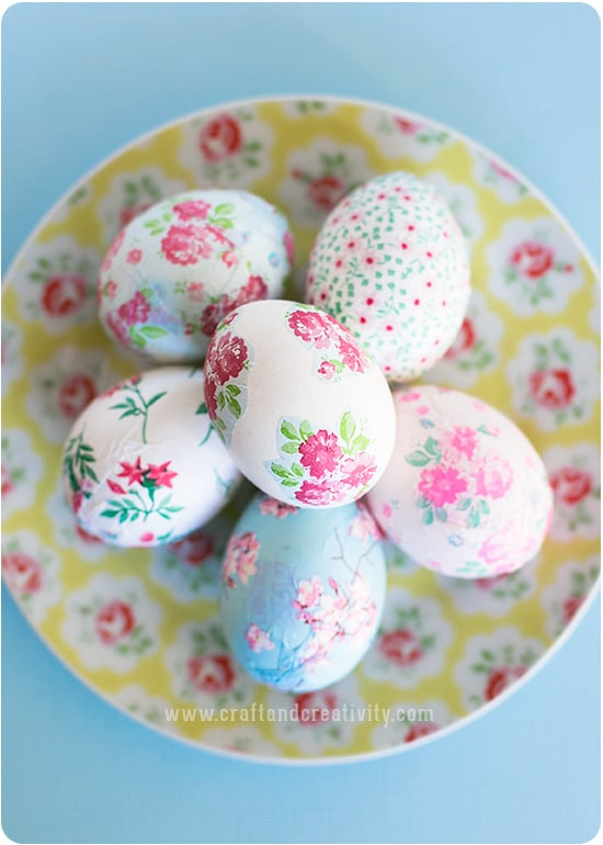 decoupage eggs in a white bowl