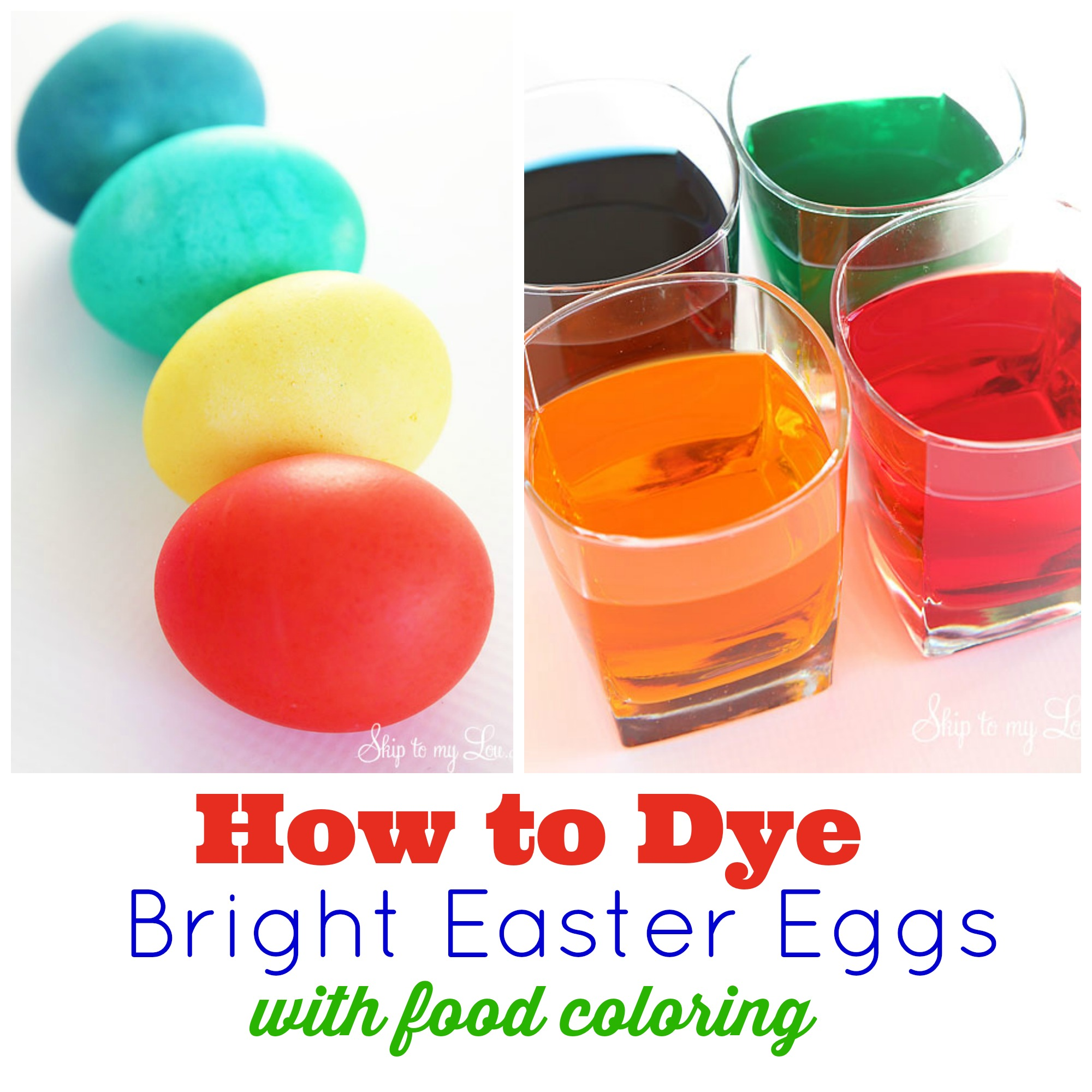 Dying Easter eggs; colored eggs, glasses filled with food coloring