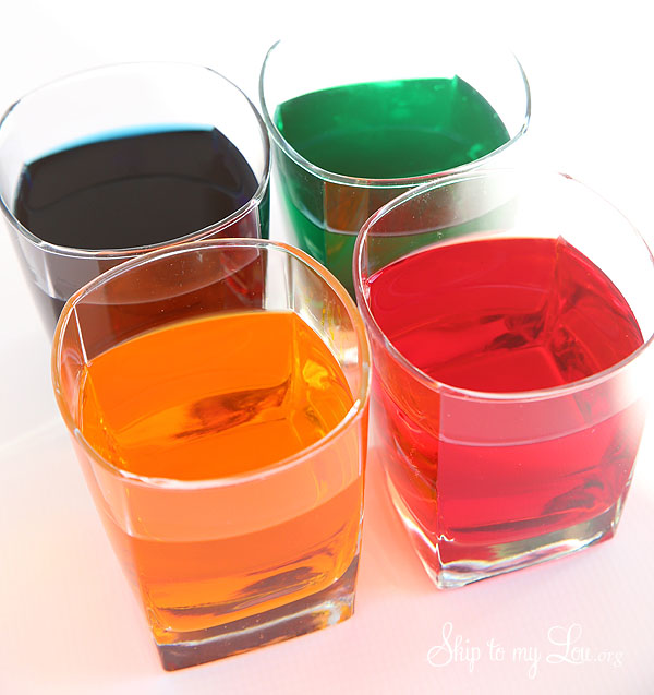 dye in glasses for dying Easter eggs