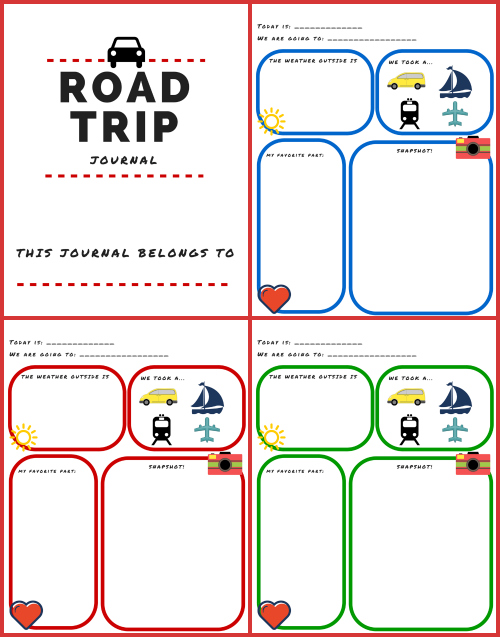 printable road trip journal