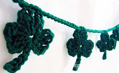 crochet shamrock garland