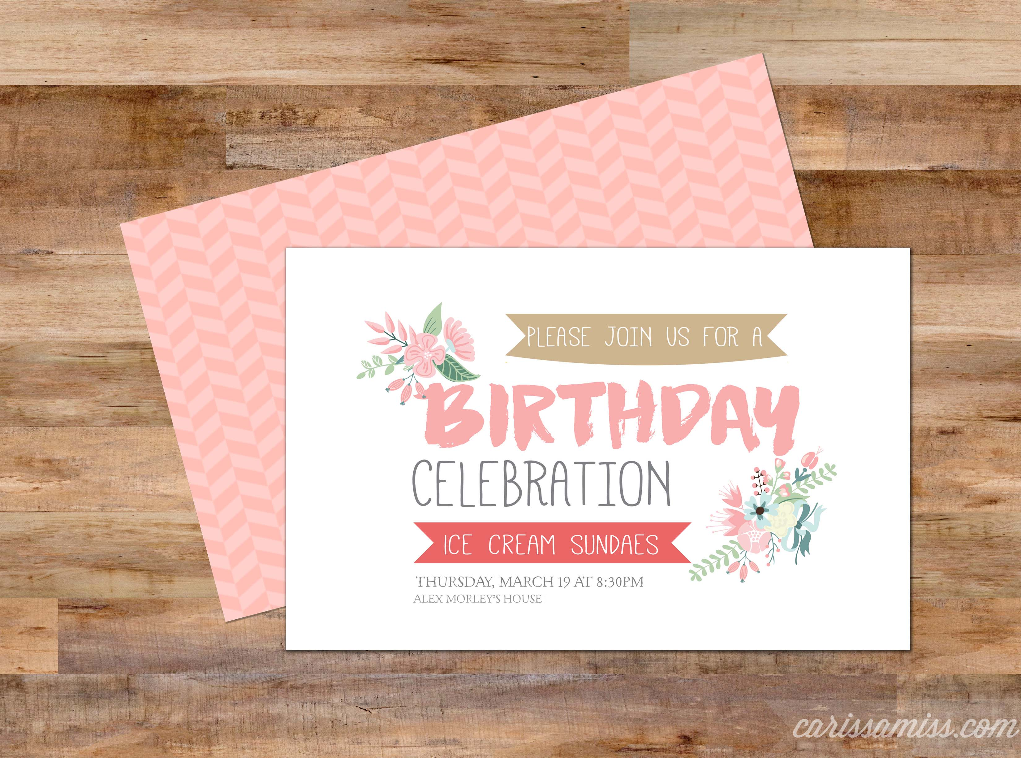 Rose bud teacher appreciation printable skip to my lou birthday celebration invitation stopboris Choice Image