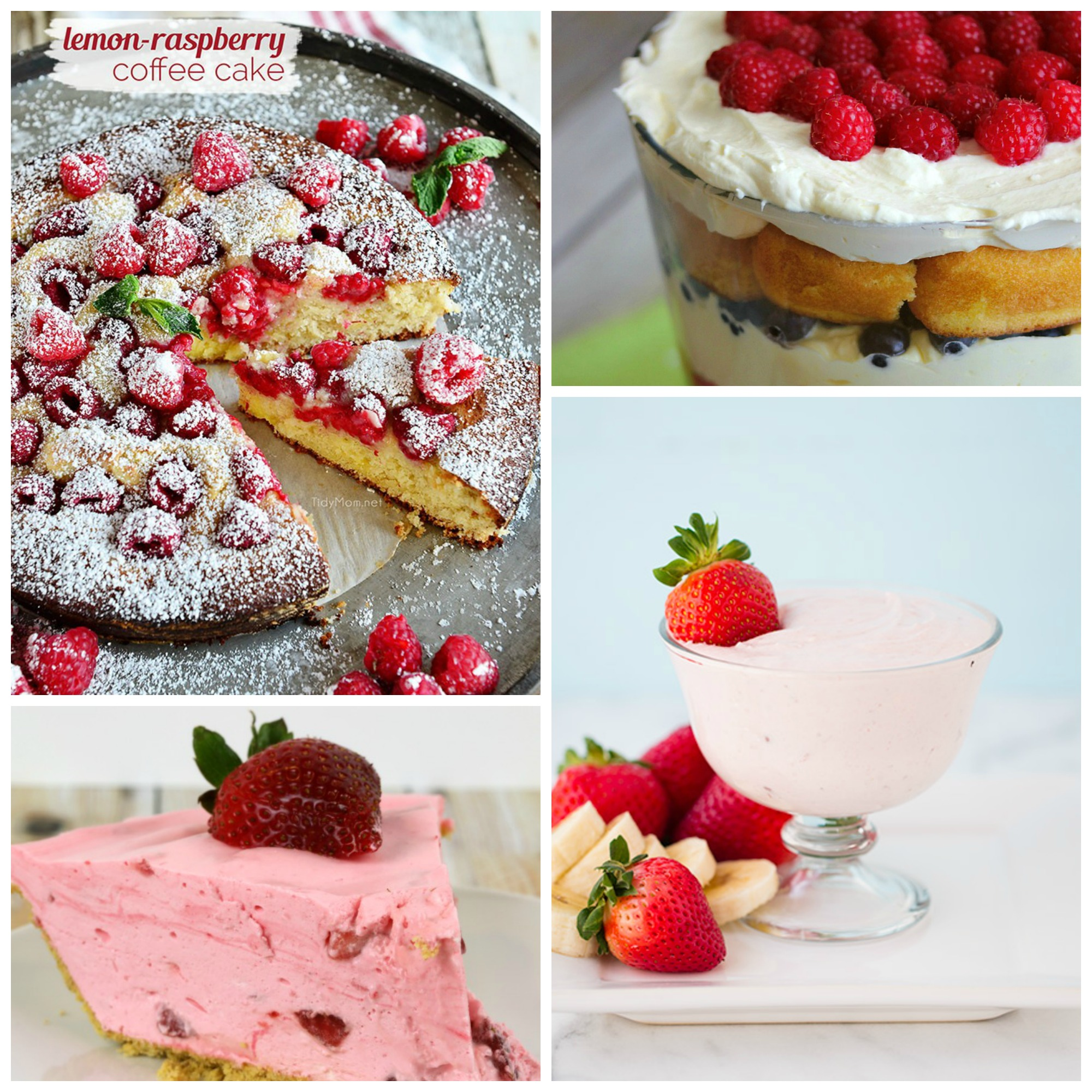 berry dessert collage