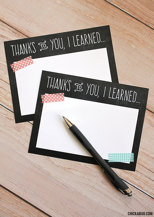 Free teacher appreciation notes by Chickabug. A handwritten note to the teacher will be a heartfelt gift to treasure!